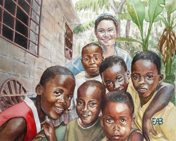 student_and_haitian_children