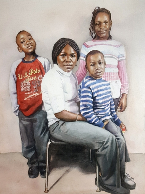Mamie and kids portrait finished